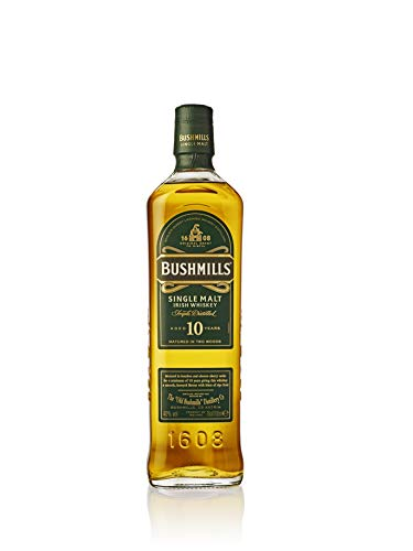 Bushmills Single Malt Irish, Whisky irlandés de malta de 10 años, 70 cl