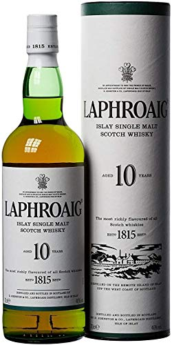 Laphroaig 10 Años Single Malt Escoces Peated Whisky Escoces, 40% - 700 ml