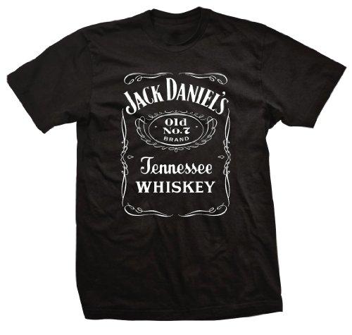 Jack Daniel's Whiskey Old No. 7 Tenessee Label - Camiseta para adulto, color negro (talla M)