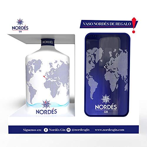 Ginebra Premium nacional Nordés Gin - Pack Exclusivo Vaso cristal transparente Nordés de regalo,70 cl